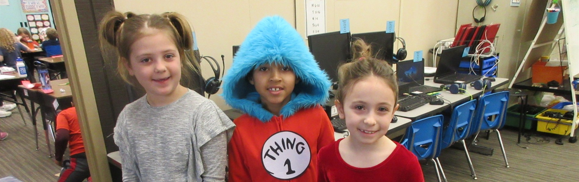 Students dressed up for Read Across America