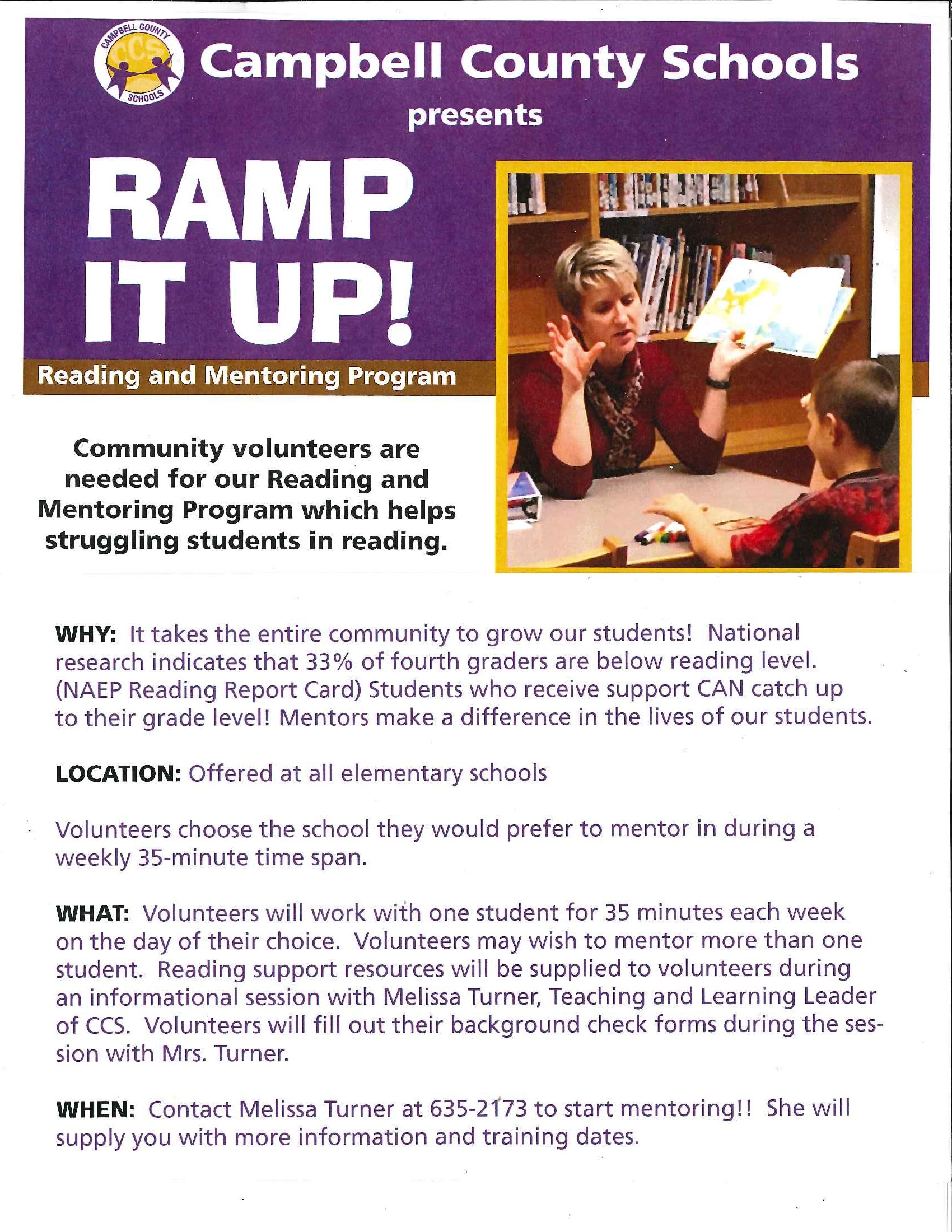 Community Volunteers are needed for CCS Reading and Mentoring Program  Posted On: Friday, July 13, 2018