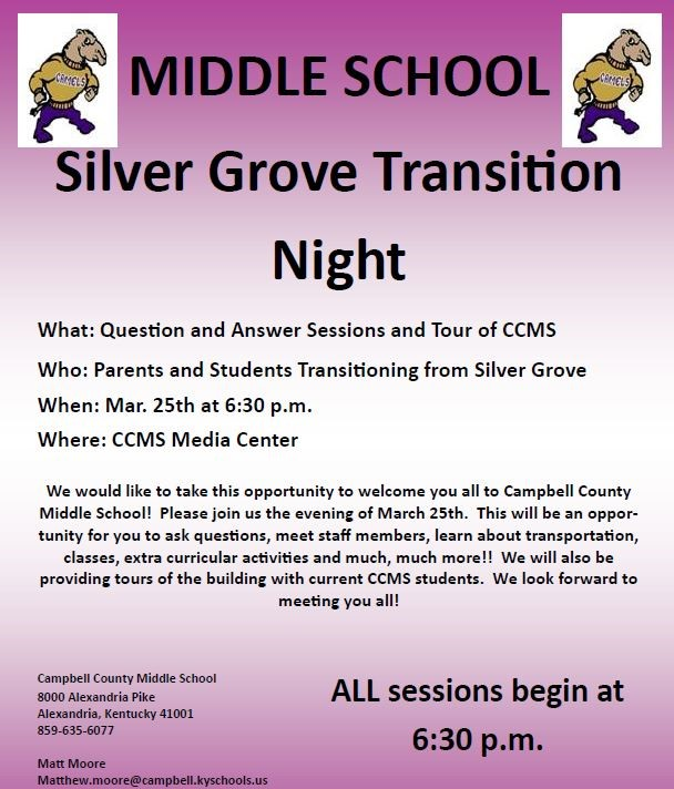 8514f37f7 Campbell County Middle School - Silver Grove Transition Night Posted On   Wednesday